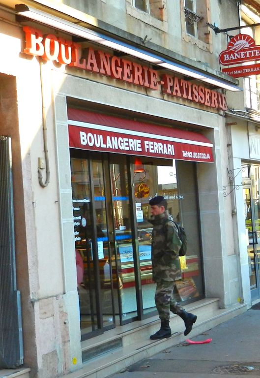 One of four boulangeries in town. Yesterday, in a truly Seinfeldian dilemna, the proprietress of Harvey's usual boulangerie spotted him walking past  with a baguette already in hand. Her bonjour was a hint icy.