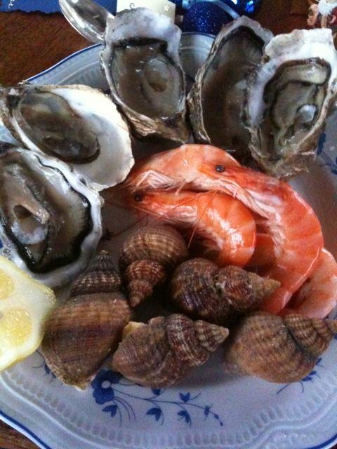 """Oysters for Christmas are a new tradition for us. Harvey harvests oysters in Ipsqwich every month with an """"r."""""""