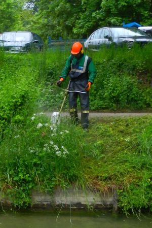 An official VNF weed whacker in full body armor, protecting the countryside from Nature in the raw.