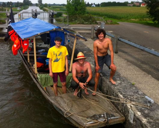 Les Pirates. We shared 22 canal locks, once back in France, with these three young Swiss, who were on their way, they said, to the Mediterranean. They brushed their teeth with beer at 8:30 that morning and didn't stop drinking for 22 locks.