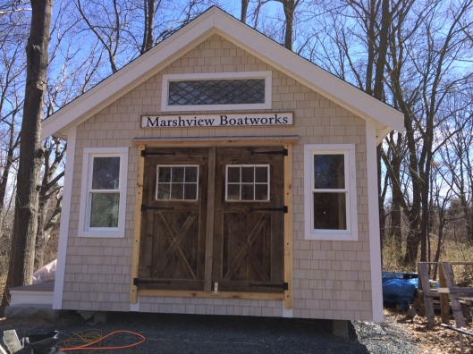 Marshview Boatworks World Headquarters - This was the winter project, a course in Building Construction 101. And next winter the dinghies and kayaks will fly through those double doors.