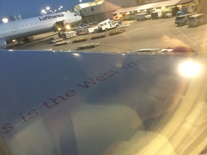 I got through three weeks of continuous U.S. election coverage by binge watching the fantastic TV series West Wing instead of watching the news. This is what I saw looking out the window of my WOWjet. Icelandic humor is subtle.